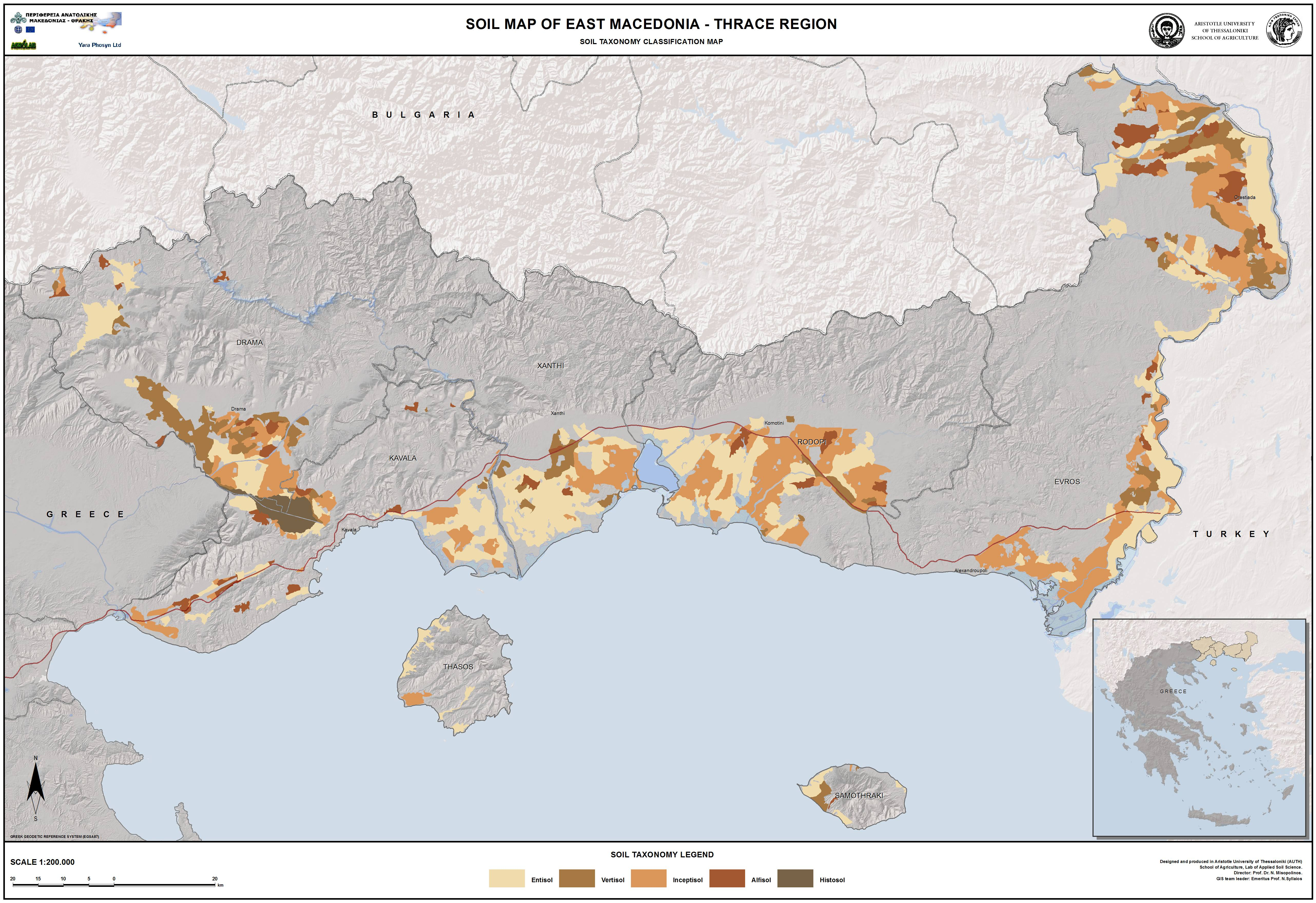 Soil Map of East Macedonia and Thrace Region, Greece